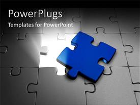 PowerPlugs: PowerPoint template with blue color puzzle piece removed from jigsaw and light glowing
