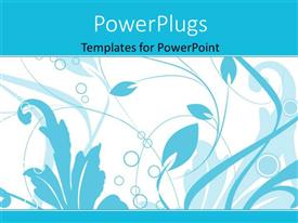 PowerPlugs: PowerPoint template with blue color vector floral depiction