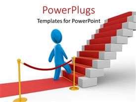 PowerPlugs: PowerPoint template with blue colored 3D man on red carpet climbing stairs