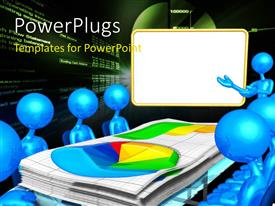 PowerPlugs: PowerPoint template with blue colored 3D men sits round chart on presentation table
