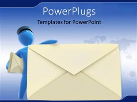 PowerPlugs: PowerPoint template with blue colored 3D postman leaning towards large envelope symbol