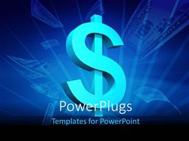PowerPlugs: PowerPoint template with a blue colored dollar symbol and some dollar bills