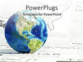 PowerPlugs: PowerPoint template with a blue colored earth globe on a wide newspaper