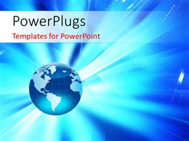PowerPlugs: PowerPoint template with a blue colored globe with bright shinning light
