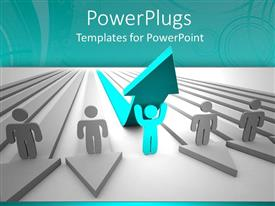 PowerPlugs: PowerPoint template with blue colored man stands out from colleagues in white