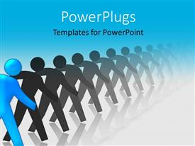 PowerPoint template displaying blue colored man stands out from crowd of grey men