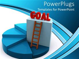 PowerPoint template displaying blue colored pie chart with  ladder and a red GOAL text