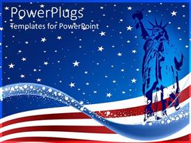 PowerPlugs: PowerPoint template with blue colored statue of liberty over the USA  flag background