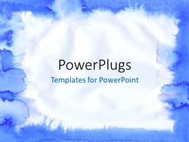 PowerPlugs: PowerPoint template with blue colored watercolor painted frame