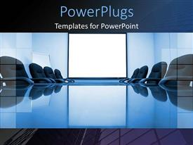 PowerPlugs: PowerPoint template with blue conference room with office chairs and white powerpoint slide for business
