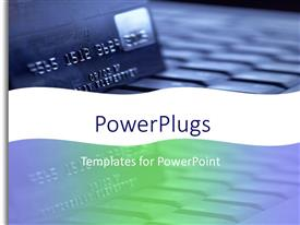 PowerPoint template displaying blue credit card close up in soft blue colors