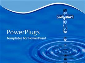 PowerPlugs: PowerPoint template with a blue cross-shaped water crystal dripping water in blue background