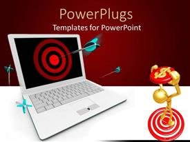 PowerPlugs: PowerPoint template with blue darts piercing center of red target on computer screen