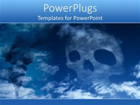 PowerPoint template displaying blue death skull, harmful wastes danger for earth