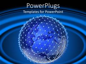 PowerPoint template displaying blue and dotted earth globe on a blue background
