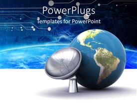 PowerPlugs: PowerPoint template with a blue earth globe beside a standing satellite dish