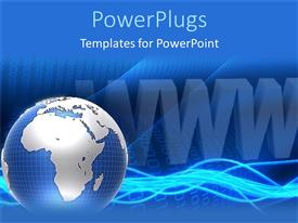 Colorful presentation theme having blue earth globe on a blue background with a WWW text