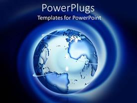 PowerPlugs: PowerPoint template with blue earth globe on a blue and black background
