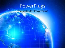 PowerPlugs: PowerPoint template with a blue earth globe on a blue colored background