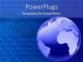 PowerPoint template displaying a blue earth globe on a blue colored background