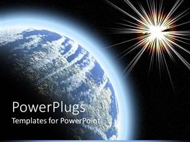 PowerPoint template displaying blue earth globe close up next to bright star
