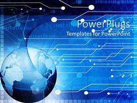 PowerPlugs: PowerPoint template with blue earth globe on a digital technology board background