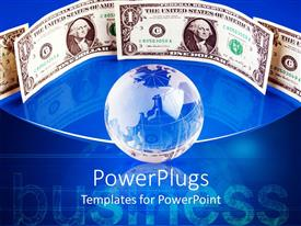 PowerPlugs: PowerPoint template with blue earth globe with dollar notes on a blue background