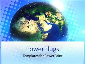 PowerPoint template displaying blue earth globe on a graphical light blue background