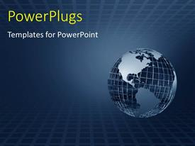 PowerPlugs: PowerPoint template with blue earth globe on grid patterned background