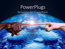 PowerPoint template displaying blue earth globe with hands from two races touching