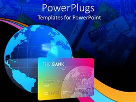 PowerPoint template displaying blue earth globe with huge bank credit card in blue background