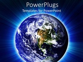 PowerPlugs: PowerPoint template with blue earth globe on a lit glowing blue background