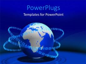 PowerPlugs: PowerPoint template with a blue earth globe with lots of binary numbers