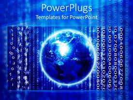 PowerPlugs: PowerPoint template with blue earth globe with lots of binary codes on a blue background