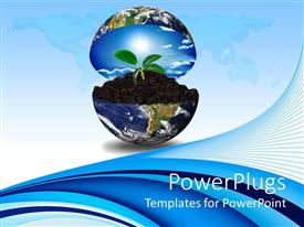 PowerPlugs: PowerPoint template with blue earth globe opening up to display sprouting plant in soil