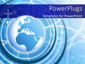 PowerPlugs: PowerPoint template with blue earth globe over light glow and blue patterned background