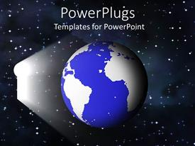 PowerPlugs: PowerPoint template with blue earth globe in space with a key hole ray of light