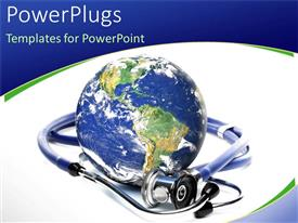 PowerPlugs: PowerPoint template with a blue earth globe with a stethoscope on a white colored background