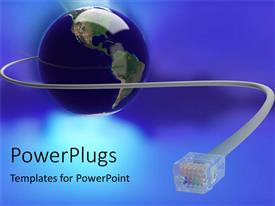 PowerPoint template displaying blue earth globe with a telephone wire connected to it
