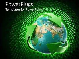 PowerPlugs: PowerPoint template with blue earth globe with three green arrows around it