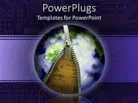 PowerPoint template displaying blue Earth globe unzipping to show circuit board underneath