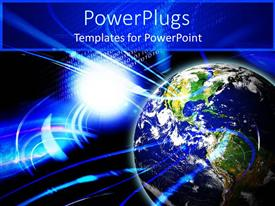 PowerPlugs: PowerPoint template with blue earth globe with waves on a blue background