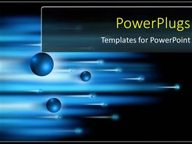 PowerPlugs: PowerPoint template with blue electrons and blurred lights forming sabers of speed and motion