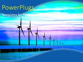 PowerPlugs: PowerPoint template with blue energy power wind mills with colorful sky