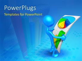 PowerPlugs: PowerPoint template with blue figure In 3D holding financial chart with blue color