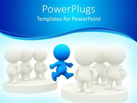 PowerPlugs: PowerPoint template with blue figure jumping from one group of white figures to another