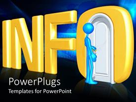 PowerPlugs: PowerPoint template with blue figure about to open doorway in three dimensional Info