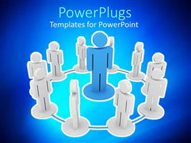 PowerPlugs: PowerPoint template with blue figure on pedestal surrounded by white figures in circled