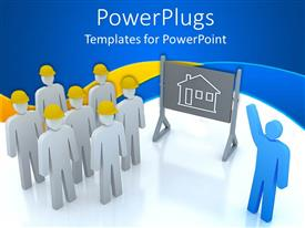 PowerPlugs: PowerPoint template with blue figure pointing presenting house drawing to group of white figures in yellow hard hats