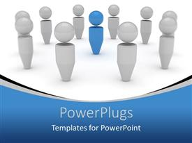 PowerPlugs: PowerPoint template with blue figure standing out among silver figures, leadership, management